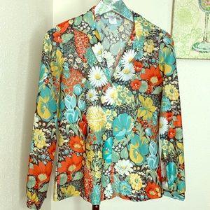 Vintage Lucky floral blouse retro vines sz 5/6